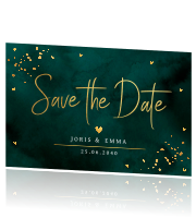 Save the Date kaart goud confetti