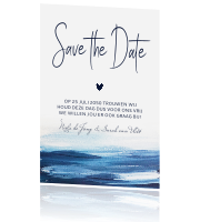 Save the date waterverf indigo