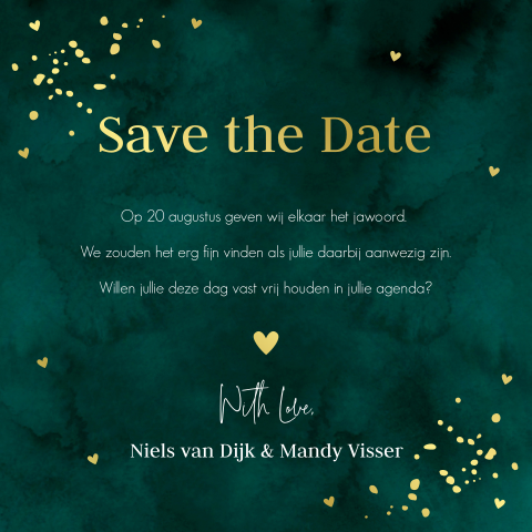 GOUDFOLIE Save the Date kaart foto
