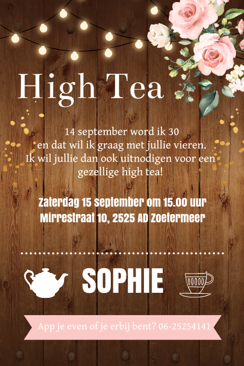 High Tea uitnodiging typografie