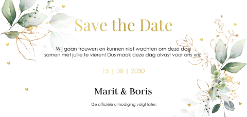 Save the Date kaart botanisch folie
