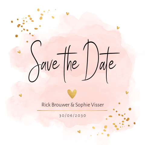 Save the Date kaart waterverf goudlook confetti