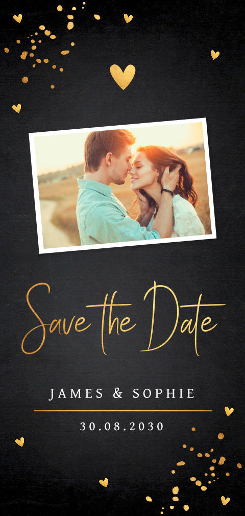 Save the Date kaart goudlook confetti