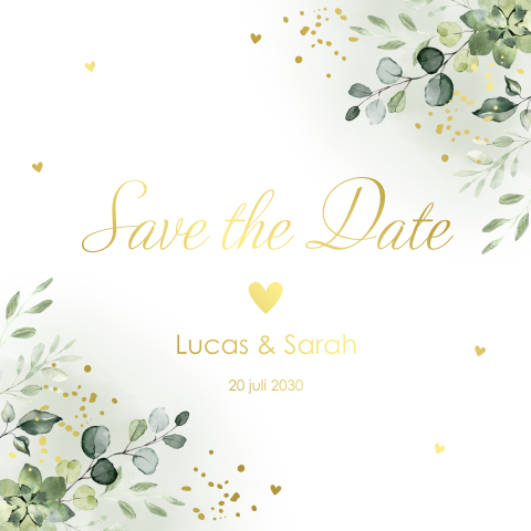 Save the Date kaart botanisch goudfolie