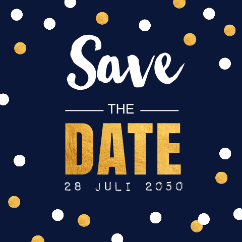 Save the Date kaart confetti