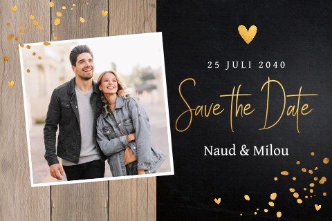 Save the Date kaart foto hout confetti goudlook