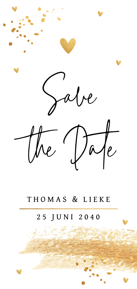 Save the Date kaart confetti goudlook