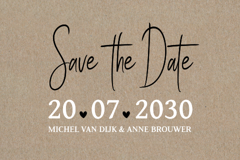 Echt kraft Save the Date kaart
