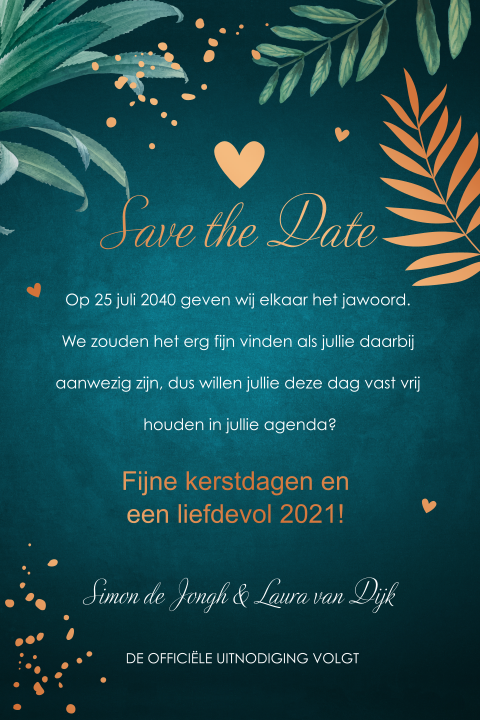 Save the Date kaart botanisch koperfolie