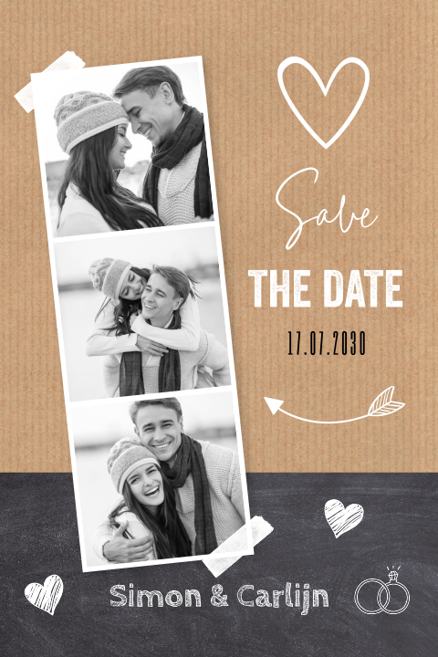 Save the Date kaart fotocollage kraft