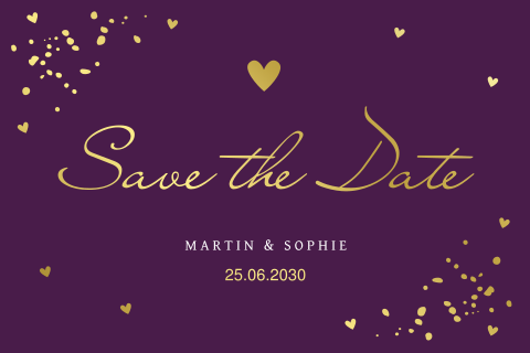 Save the Date kaart paars confetti goudfolie