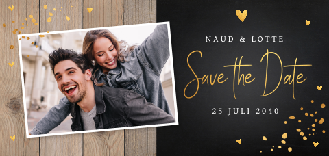 Save the Date kaart foto confetti