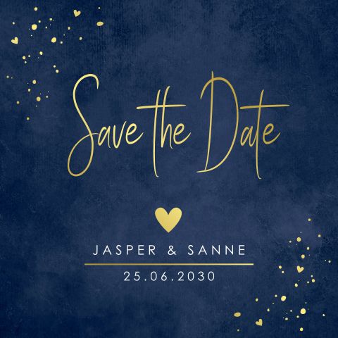 Save the Date kaart foto confetti goudlook