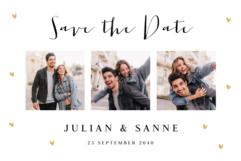 Save the Date kaart fotocollage hartjes