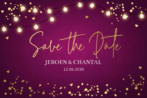 GOUDFOLIE Save the Date kaart typografie
