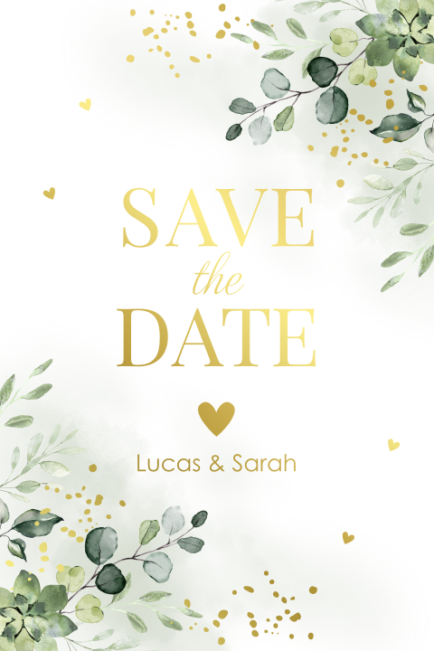 Save the Date kaart eucalyptus goudfolie