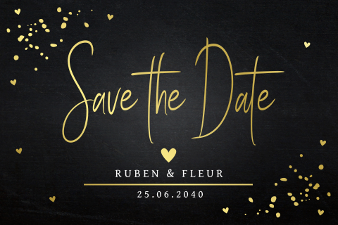Save the Date kaart zwart confetti goudfolie