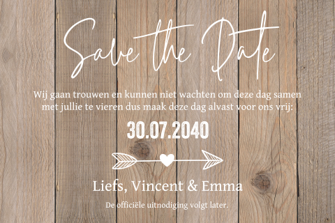 Save the Date kaart wood style