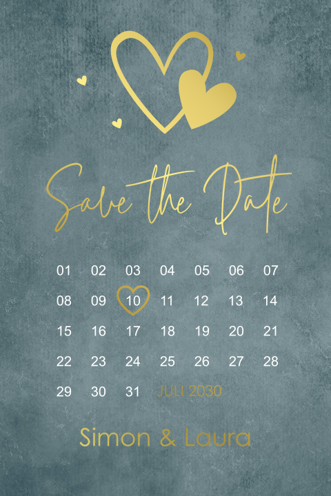 Save the Date kaart kalender roestbruin foliedruk