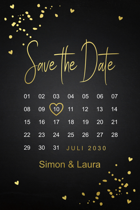 Save the Date kaart kalender goudfolie
