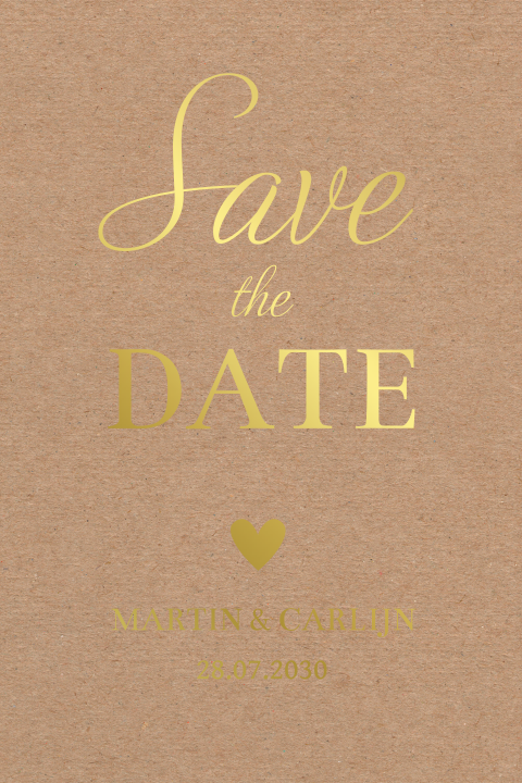 Save the Date kaart kraftlook goudfolie