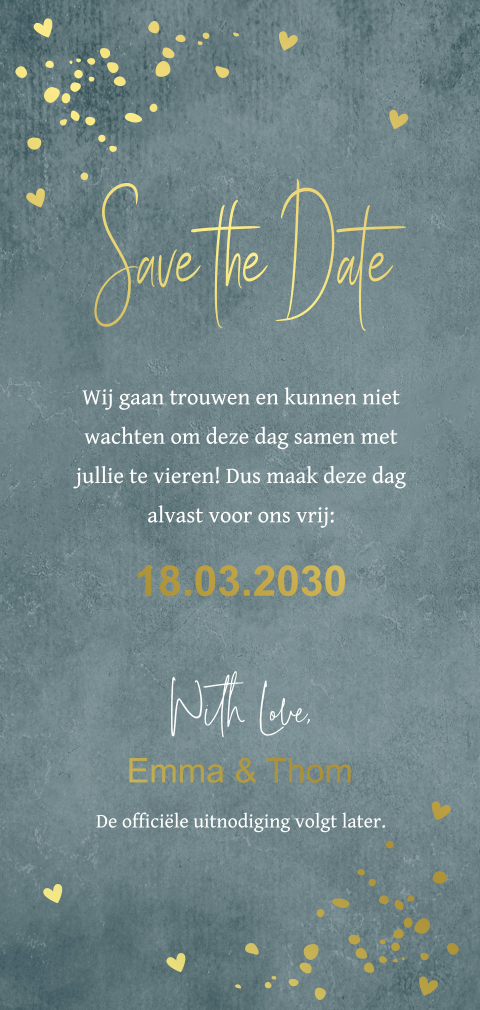Save the Date kaart langwerpig foto foliedruk