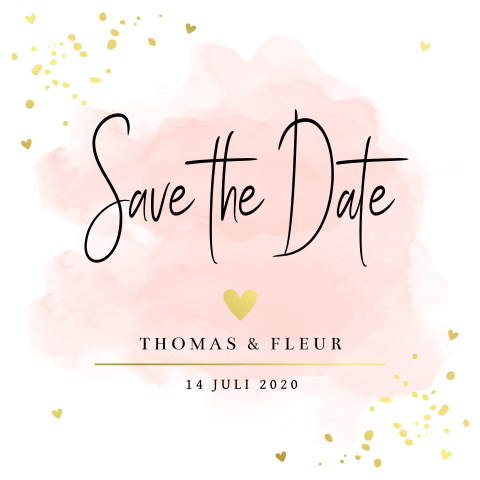 Save the Date kaart roze watercolour confetti goudfolie