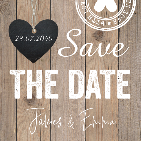 Save the date kaart hout