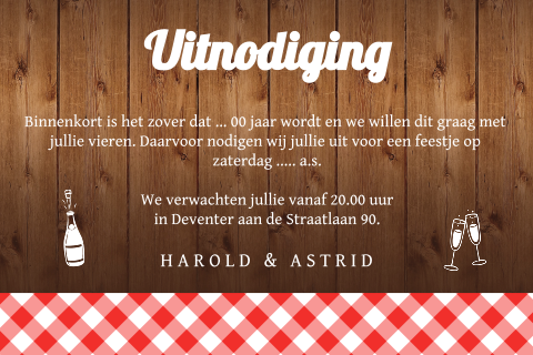 Uitnodiging tuinfeest hout