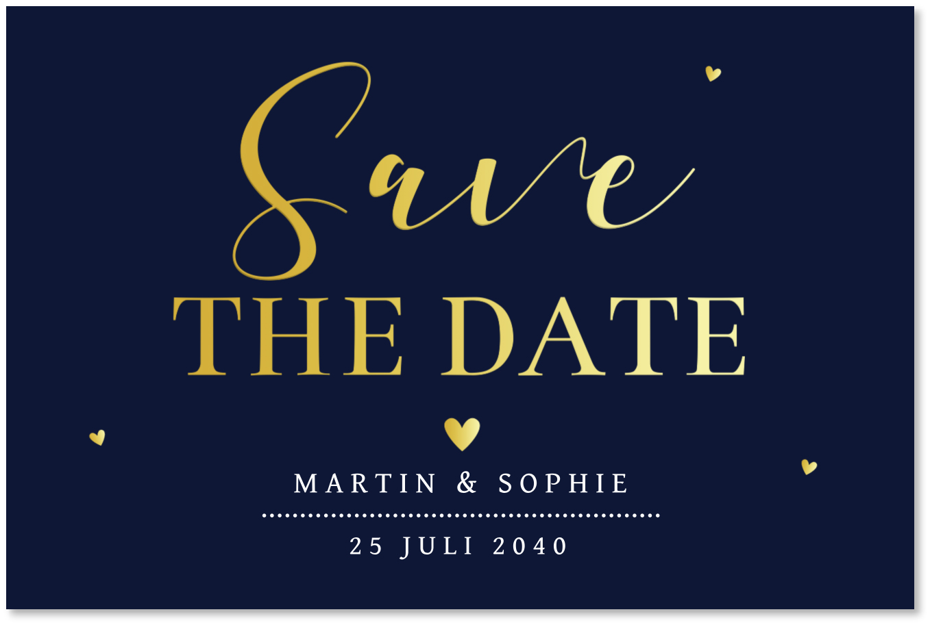 GOUDFOLIE Save the Date kaart donkerblauw