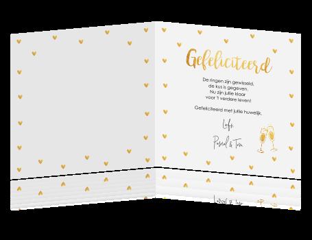 Ongekend Felicitatie huwelijk hartjes goudlook NC-35