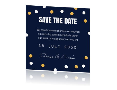 Een trendy Save the Date kaart met confetti.
