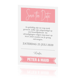 Trendy Save the Date kaart met foto.